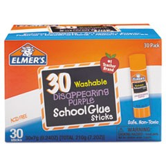 Washable School Glue Sticks, Purple, 30/Box