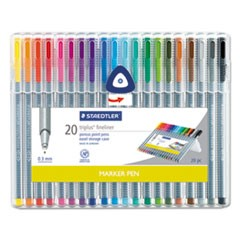 triplus Fineliner Marker, Extra-Fine Needle Tip, Assorted Colors, 20/Set