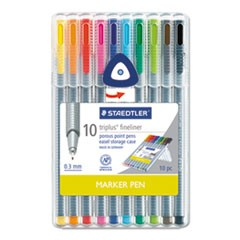 triplus Fineliner Marker, Extra-Fine Needle Tip, Assorted Colors, 10/Set
