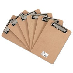 "Hardboard Clipboard with Low-Profile Clip, 1/2"" Capacity, 6 x 9, Brown, 6/Pk"
