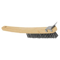 "Wire Brush with Scraper, Wooden Handle, Natural Color, 9"" Brush Length"