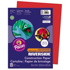 Riverside Construction Paper, 76lb, 9 x 12, Holiday Red, 50/Pack