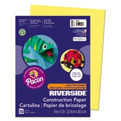 Riverside Construction Paper, 76lb, 9 x 12, Yellow, 50/Pack