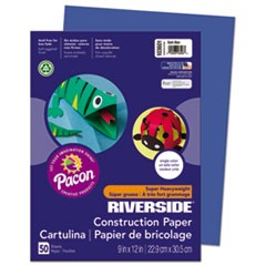 Riverside Construction Paper, 76lb, 9 x 12, Dark Blue, 50/Pack