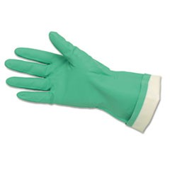 Flock-Lined Nitrile Gloves, Green, 12 Pairs