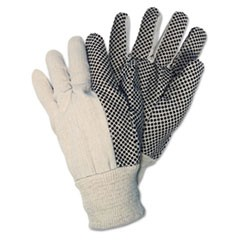 Dotted Canvas Gloves, White, 12 Pairs