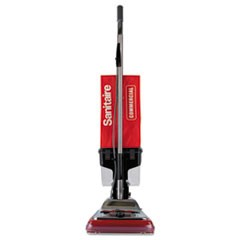 "TRADITION Upright Vacuum with Dust Cup, 7 Amp, 12"" Path, Red/Steel"
