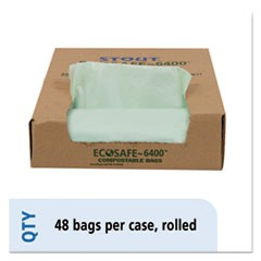 EcoSafe-6400 Compostable Compost Bags, 1.1mil, 30 x 39, Green, 48/Box