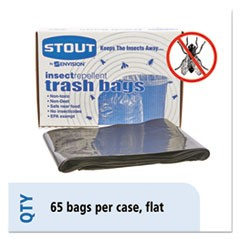 Insect-Repellent Trash Bags, 55gal, 2mil, 37 x 52, Black, 65/Box