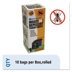 Insect-Repellent Trash Bags, 33 x 40, 1.3 mil, Black, 10/Box