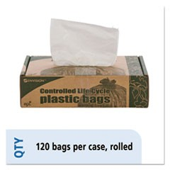 Controlled Life-Cycle Plastic Trash Bags, 13gal, .70 mil, 24 x 30, White, 120/BX