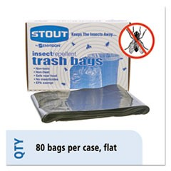 Insect-Repellent Trash Bags, 35gal, 2mil, 33 x 45, Black, 80/Box