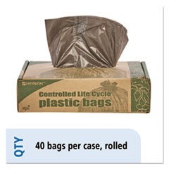 Controlled Life-Cycle Plastic Trash Bags, 39gal, 1.1mil, 33 x 44, Brown, 40/Box