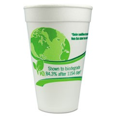 Vio Biodegradable Cups, Foam, 16 oz, White/Green, 500/Carton