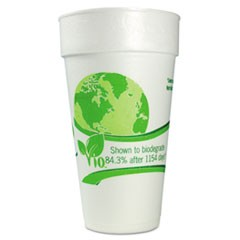 Vio Biodegradable Cups, Foam, 20 oz, White/Green, 500/Carton