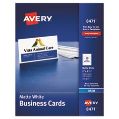 Printable Microperforated Business Cards with Sure Feed Technology, Inkjet, 2 x 3.5, White, Matte, 1000/Box