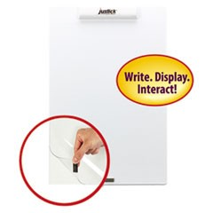 "Justick Frameless Electro-Surface Dry-Erase Board w/Clear Overlay, 16"" x 24"", WE"