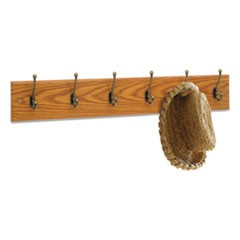 Wood Wall Rack, Six Double-Hooks, 35-1/2w x 3-1/4d x 6-3/4h, Medium Oak