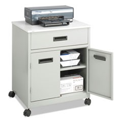 Steel Machine Stand w/Pullout Drawer, 25w x 20d x 29-3/4h, Gray