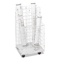 Wire Roll Files, Four Compartments, 16-1/4w x 16-1/2d x 30-1/2h, White