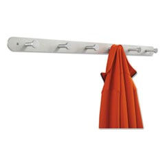 Nail Head Wall Coat Rack, Six Hooks, Metal, 36w x 2-3/4d x 2h, Satin Aluminum