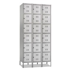 Three-Column Box Locker, 36w x 18d x 78h, Two-Tone Gray