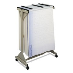Mobile Plan Center Sheet Rack, 18 Hanging Clamps, 43.75w x 20.5d x 51h, Sand