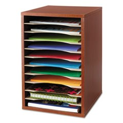 Wood Desktop Literature Sorter, 11 Sections 10 5/8 x 11 7/8 x 16, Cherry