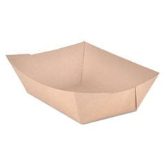 Food Trays, Paperboard, Brown Kraft, 3-Lb Capacity, 500/Carton