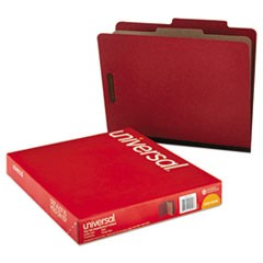 Four-Section Pressboard Classification Folders, 1 Divider, Letter Size, Red, 10/Box