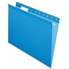 Colored Reinforced Hanging Folders, Letter Size, 1/5-Cut Tab, Blue, 25/Box
