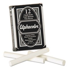 Alphacolor White Chalk, Low-Dust, 12 Sticks/Pack