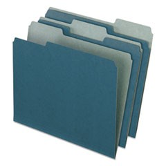 Earthwise by 100% Recycled Colored File Folders, 1/3-Cut Tabs, Letter Size, Blue, 100/Box