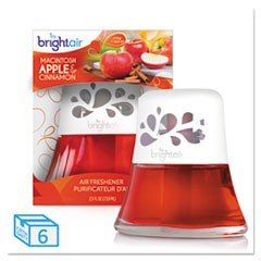 Scented Oil Air Freshener, Macintosh Apple and Cinnamon, Red, 2.5oz, 6/Carton