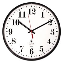"Quartz Slimline Clock, 12-3/4"", Black"