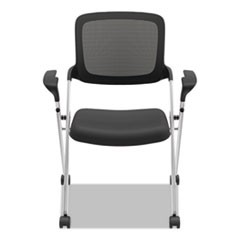 VL314 Mesh Back Nesting Chair, Black/Silver