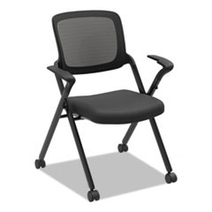 VL314 Mesh Back Nesting Chair, Black/Black