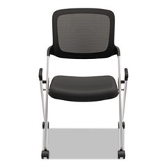 VL304 Armless Mesh Back Nesting Chair, Black/Silver