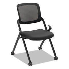 VL304 Armless Mesh Back Nesting Chair, Black/Black