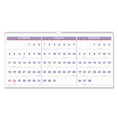 Horizontal-Format Three-Month Reference Wall Calendar, 23 1/2 x 12, 2019