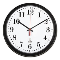 "Black Quartz CONTRACT Clock, 13.75"" Overall Diameter, Black Case, 1 AA (sold separately)"