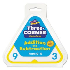 1Addition/Subtraction Three-Corner Flash Cards, 6 & Up, 48/Set