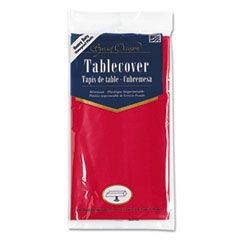 Plastic Tablecovers, 54 x 108, Real Red