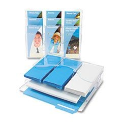 Three-Tier Document Organizer With Dividers, 13-3/8w x 3-1/2d x 11-1/2h, Clear
