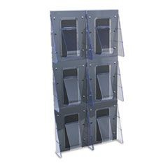 Multi-Pocket Wall-Mount Literature Systems, 18-1/4w x 35-1/4h,Clear/Black