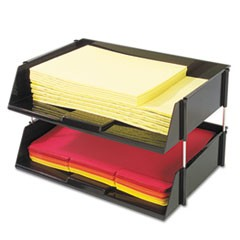 "Industrial Tray Side-Load Stacking Tray Set, 2 Sections, Letter to Legal Size Files, 16.38"" x 11.13"" x 3.5"", Black, 2/Pack"