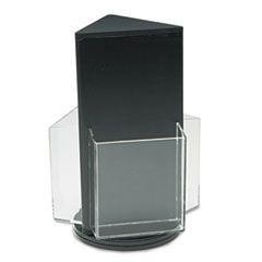 Countertop Revolving Literature Racks, Three Compartments, 7-1/2w x 10-3/4h, Blk