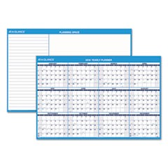 Horizontal Erasable Wall Planner, 48 x 32, Blue/White, 2019