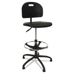 Workbench Shop Chair, 37 1/2 to 47 1/2h, Black, Polyurethane