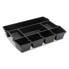 1High Capacity Drawer Organizer, 14 7/8 x 11 7/8 x 2 1/2, Plastic, Black